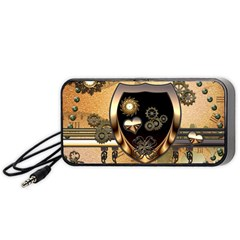 Steampunk, Shield With Hearts Portable Speaker (Black)