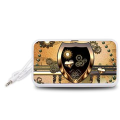 Steampunk, Shield With Hearts Portable Speaker (White)