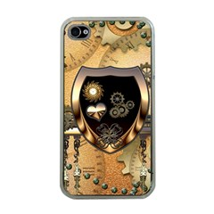 Steampunk, Shield With Hearts Apple iPhone 4 Case (Clear)