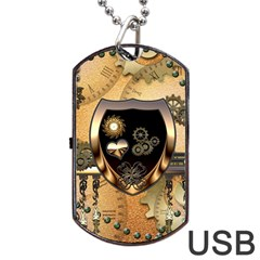 Steampunk, Shield With Hearts Dog Tag USB Flash (Two Sides)