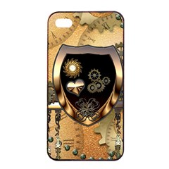 Steampunk, Shield With Hearts Apple Iphone 4/4s Seamless Case (black)
