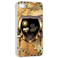 Steampunk, Shield With Hearts Apple iPhone 4/4s Seamless Case (White)