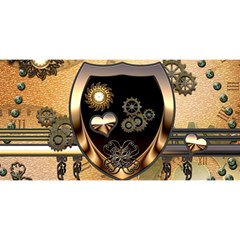 Steampunk, Shield With Hearts You Are Invited 3d Greeting Card (8x4)