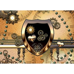 Steampunk, Shield With Hearts Birthday Cake 3d Greeting Card (7x5)