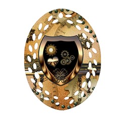 Steampunk, Shield With Hearts Oval Filigree Ornament (2 Side)