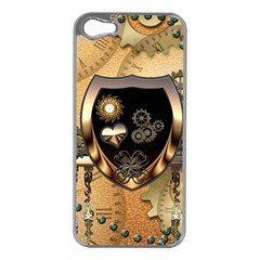 Steampunk, Shield With Hearts Apple iPhone 5 Case (Silver)
