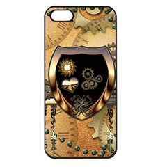 Steampunk, Shield With Hearts Apple iPhone 5 Seamless Case (Black)