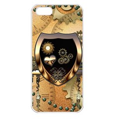 Steampunk, Shield With Hearts Apple iPhone 5 Seamless Case (White)