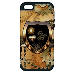 Steampunk, Shield With Hearts Apple iPhone 5 Hardshell Case (PC+Silicone)
