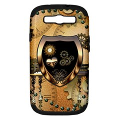 Steampunk, Shield With Hearts Samsung Galaxy S III Hardshell Case (PC+Silicone)
