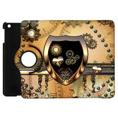 Steampunk, Shield With Hearts Apple iPad Mini Flip 360 Case