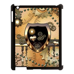 Steampunk, Shield With Hearts Apple iPad 3/4 Case (Black)