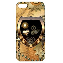 Steampunk, Shield With Hearts Apple iPhone 5 Hardshell Case with Stand