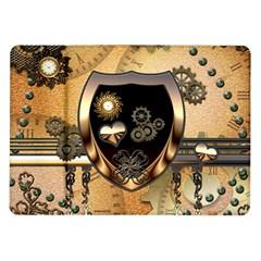 Steampunk, Shield With Hearts Samsung Galaxy Tab 10.1  P7500 Flip Case