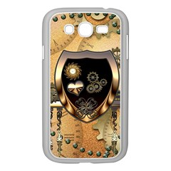 Steampunk, Shield With Hearts Samsung Galaxy Grand DUOS I9082 Case (White)