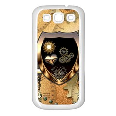 Steampunk, Shield With Hearts Samsung Galaxy S3 Back Case (White)