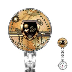 Steampunk, Shield With Hearts Stainless Steel Nurses Watches