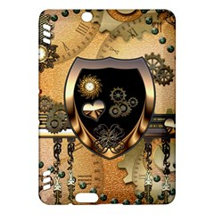 Steampunk, Shield With Hearts Kindle Fire HDX Hardshell Case