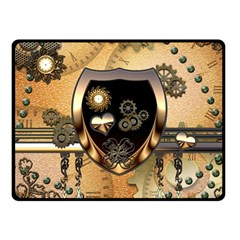 Steampunk, Shield With Hearts Double Sided Fleece Blanket (Small)