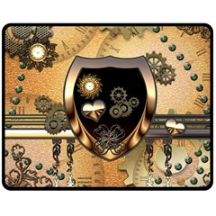 Steampunk, Shield With Hearts Double Sided Fleece Blanket (Medium)