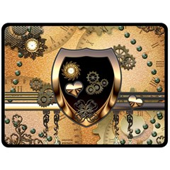 Steampunk, Shield With Hearts Double Sided Fleece Blanket (Large)