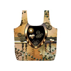 Steampunk, Shield With Hearts Full Print Recycle Bags (S)