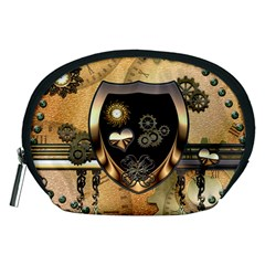 Steampunk, Shield With Hearts Accessory Pouches (medium)