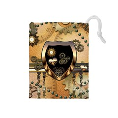 Steampunk, Shield With Hearts Drawstring Pouches (Medium)