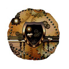Steampunk, Shield With Hearts Standard 15  Premium Flano Round Cushions