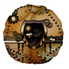 Steampunk, Shield With Hearts Large 18  Premium Flano Round Cushions