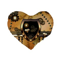 Steampunk, Shield With Hearts Standard 16  Premium Flano Heart Shape Cushions