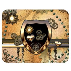 Steampunk, Shield With Hearts Double Sided Flano Blanket (Medium)