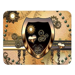 Steampunk, Shield With Hearts Double Sided Flano Blanket (large)