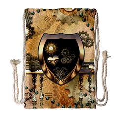 Steampunk, Shield With Hearts Drawstring Bag (Large)