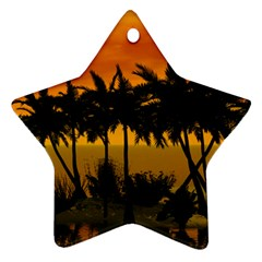 Sunset Over The Beach Ornament (Star)