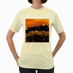 Sunset Over The Beach Women s Yellow T-Shirt