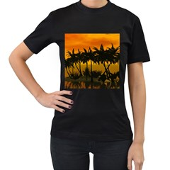 Sunset Over The Beach Women s T-Shirt (Black) (Two Sided)