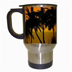 Sunset Over The Beach Travel Mugs (White)