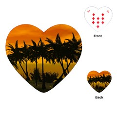 Sunset Over The Beach Playing Cards (Heart)