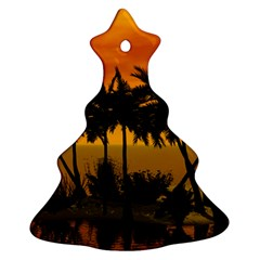 Sunset Over The Beach Christmas Tree Ornament (2 Sides)