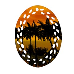 Sunset Over The Beach Oval Filigree Ornament (2 Side)