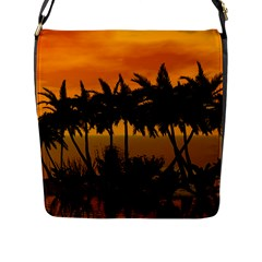 Sunset Over The Beach Flap Messenger Bag (L)