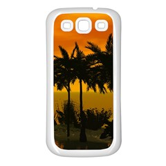 Sunset Over The Beach Samsung Galaxy S3 Back Case (White)