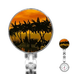 Sunset Over The Beach Stainless Steel Nurses Watches