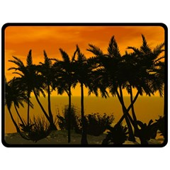 Sunset Over The Beach Double Sided Fleece Blanket (Large)