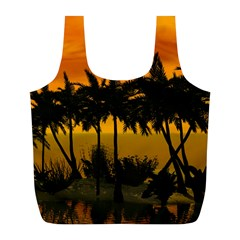 Sunset Over The Beach Full Print Recycle Bags (l)