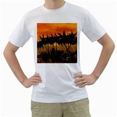 Sunset Over The Beach Men s T-Shirt (White)