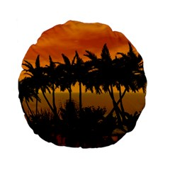 Sunset Over The Beach Standard 15  Premium Flano Round Cushions