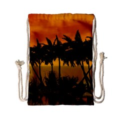 Sunset Over The Beach Drawstring Bag (small)