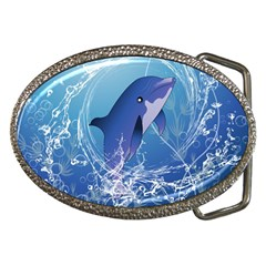 Cute Dolphin Jumping By A Circle Amde Of Water Belt Buckles